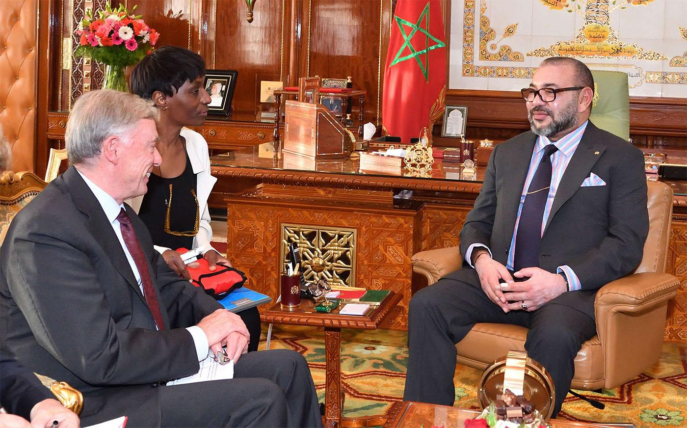 Moroccan King Mohammed VI, right, confers with UN envoy Horst Kohler at the Palace in Rabat