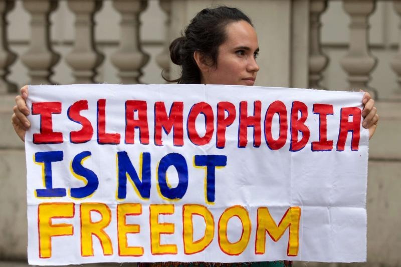 A protester participates in an anti-Islamophobia demonstration in London.