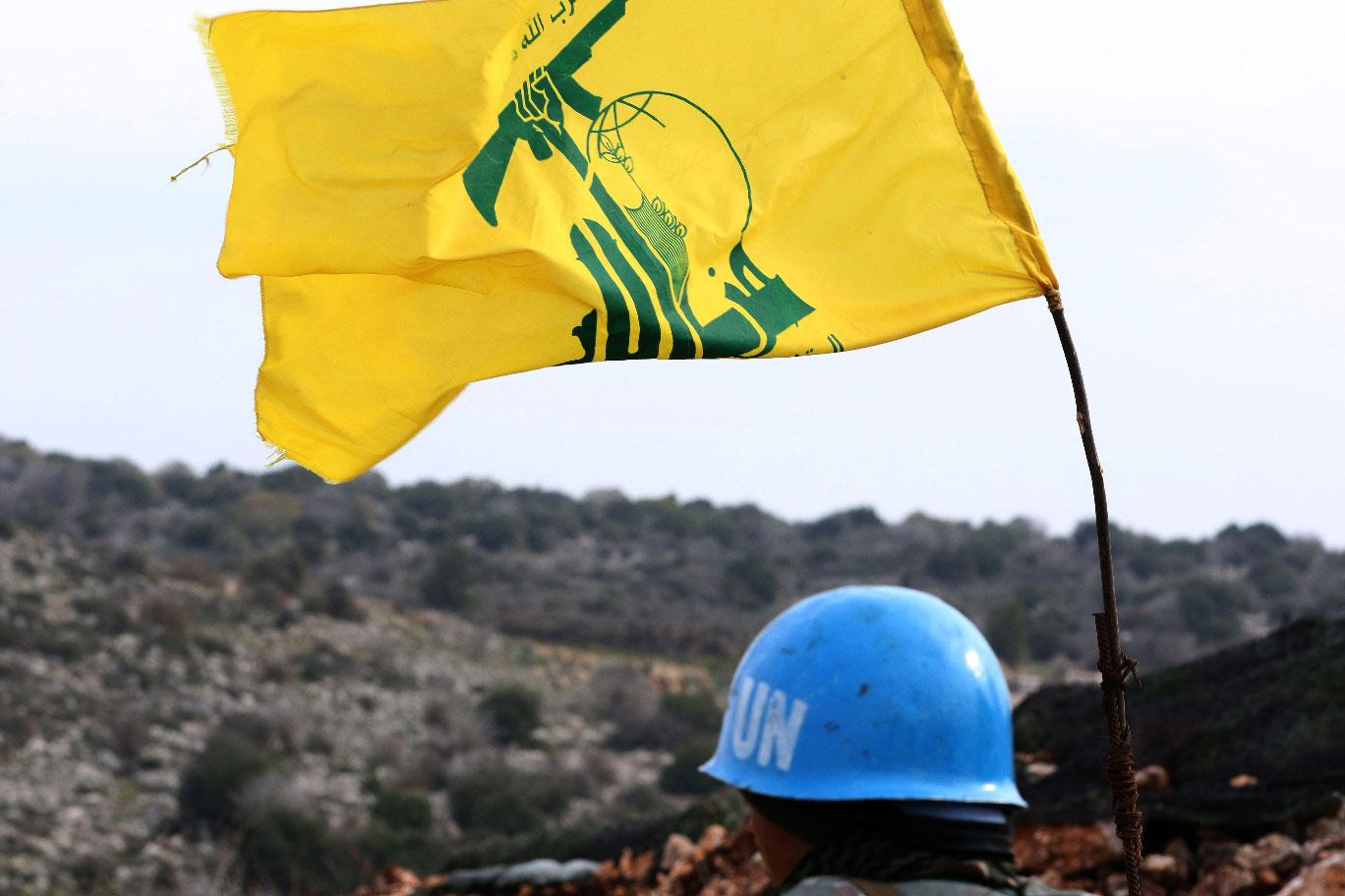 Picture taken from the southern Lebanese village of Meiss al-Jabal on December 16, 2018, shows a United Nations Interim Forces in Lebanon (UNIFIL) soldier monitoring the border between Lebanon and Israel.