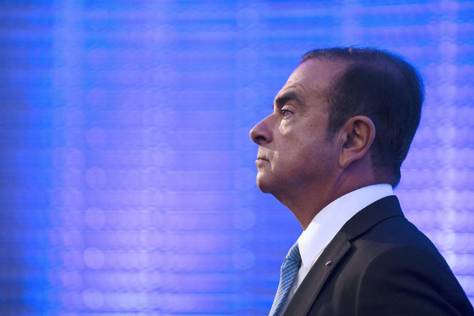 In this file photo taken on October 6, 2017, then Renault-Nissan chairman and CEO Carlos Ghosn takes part in a press confrence in Paris.