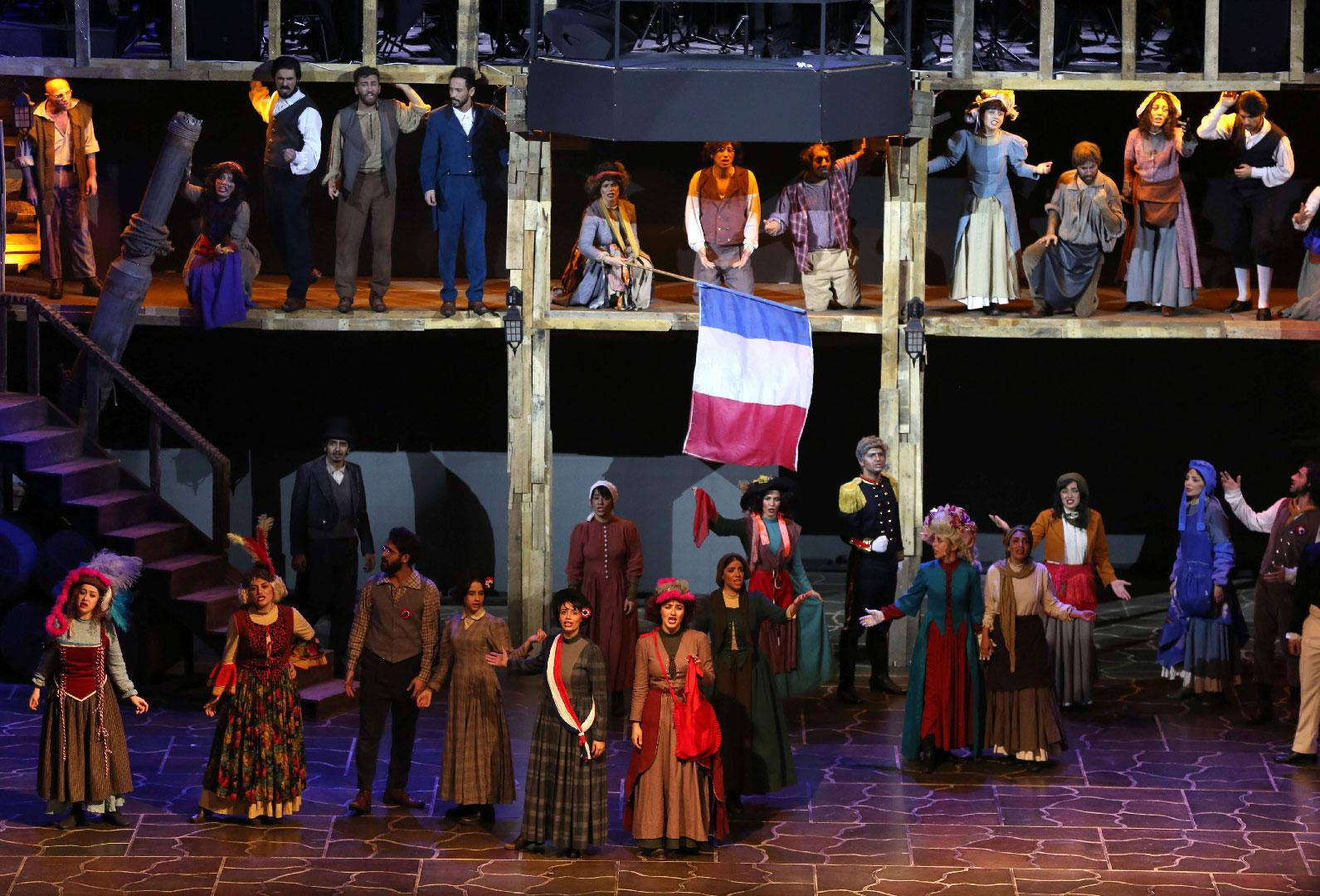 A scene from the musical production Les Miserables, performed by Iranian artists at the Espinas Hotel in the capital Tehran on December 3, 2018.