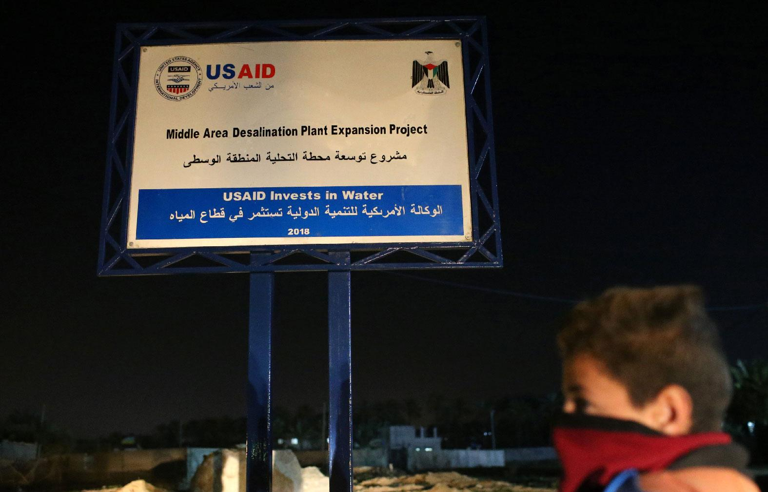 A sign of a USAID project is seen in the central Gaza Strip January 31, 2019.