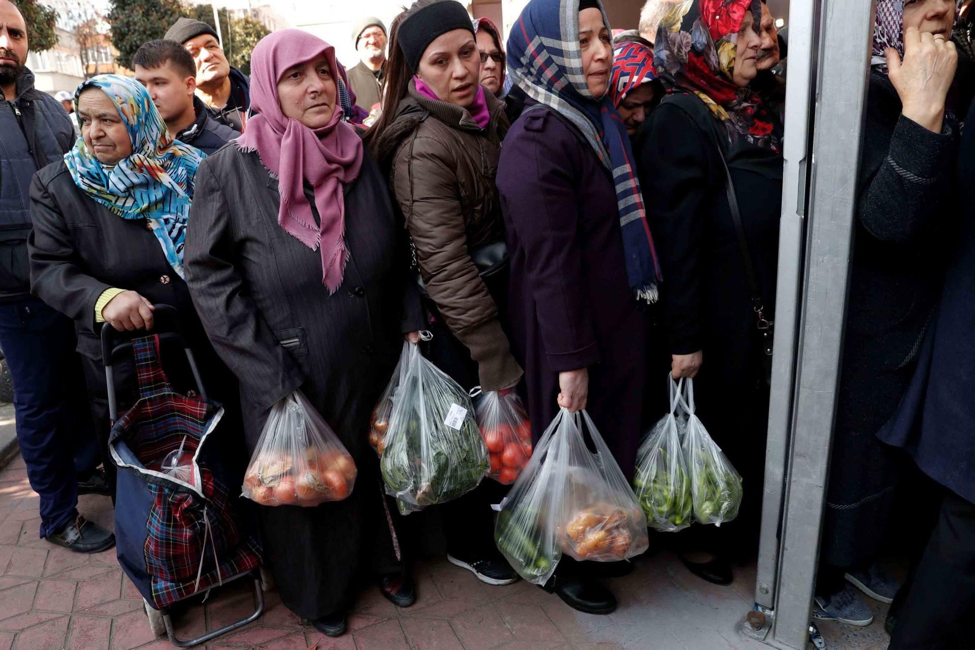 Traders blamed storms in southern Turkey's farming region for food price inflation, as well as rising costs of labour and transport.