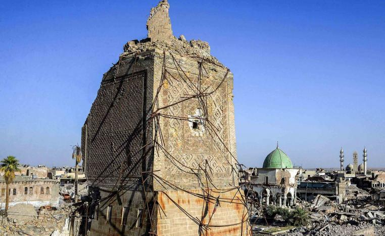 All that is left of the minaret is part of its rectangular base, the rest of it sheared off by fighting