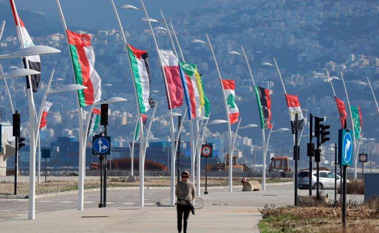 Flags of the Arab league states are seen on display ahead of the Arab Economic and Social Development Summit in Beirut on January 17, 2019.