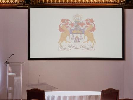 A podium ready for a speech
