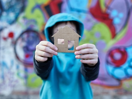 A little boy in a blue hoodie holds up a cardboard cut up of a house