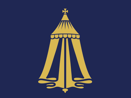 A gold tent on blue background with text underneath reading Merchant Taylors' Foundation