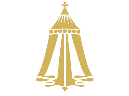 A gold tent of Merchant Taylors' crest