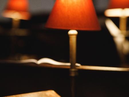 A softly-lit lamp