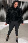 Miss Mills Black Faux Fur Coat