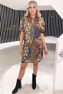 Coloured Leopard print dress