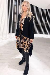 Leopard Print and Black Jacket