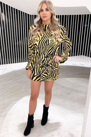 Women's Yellow Zebra Print Dress