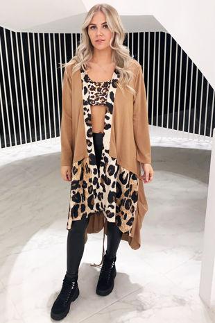 Women's Beige Leopard Print Cardigans