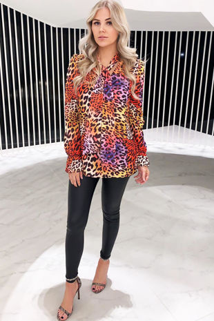 Coloured Leopard Print Blouses