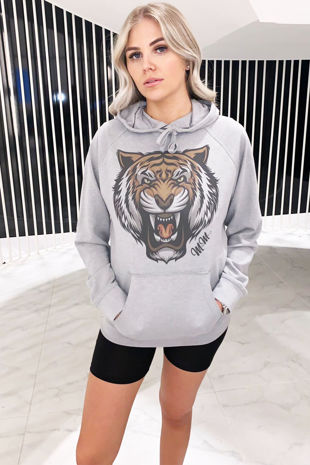 Tiger Print hoodie - Grey