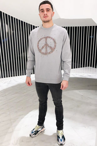 Men's Grey Peace Sign Jumper