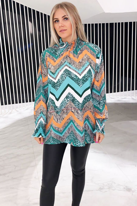 Light Blue Zig-Zag Blouse