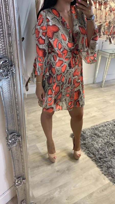 Orange Snakeskin Wrap Mini  Maxi Dress