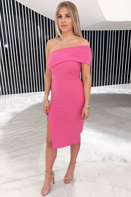 Pink Over the shoulder dress