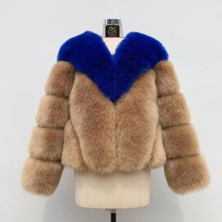Miss Mills Faux Fur Blue Brown Coat