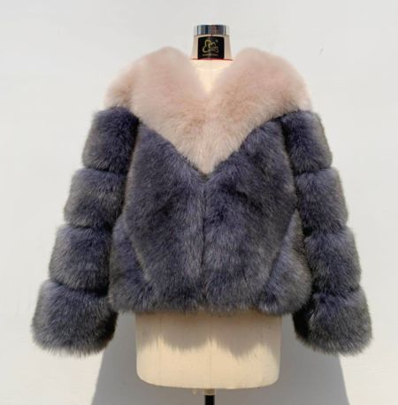 Miss Mills Luxury Cream Grey Faux Fur