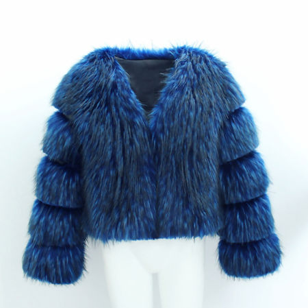 Miss Mills Blue Faux Fur Coat