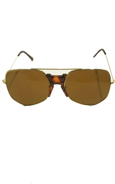 Miss Mills Oversized Brown Aviators Rose Gold Mirror lens