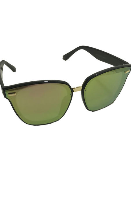 Reflective Black Rimmed  Aviators Sunglasses