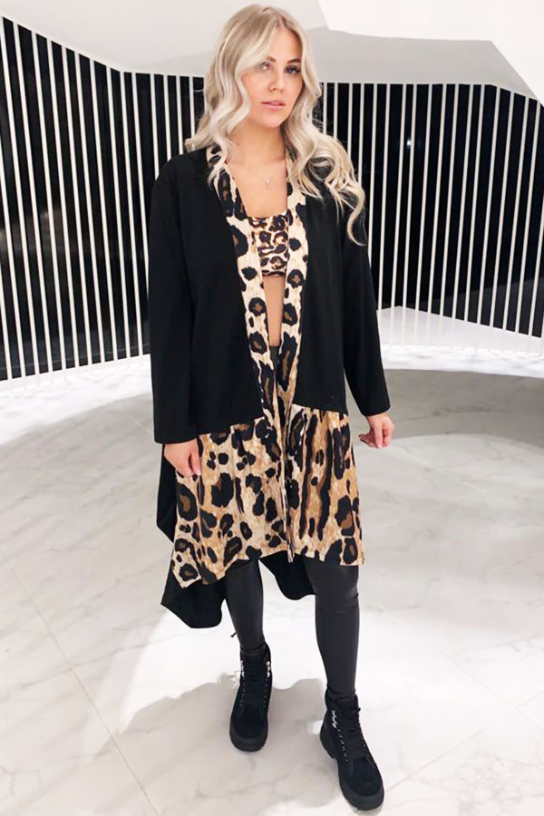 Leopard Print and Black Jacket