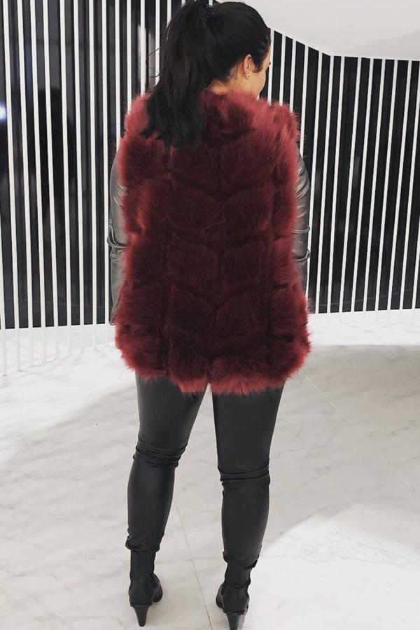 Red Faux fur Gilet