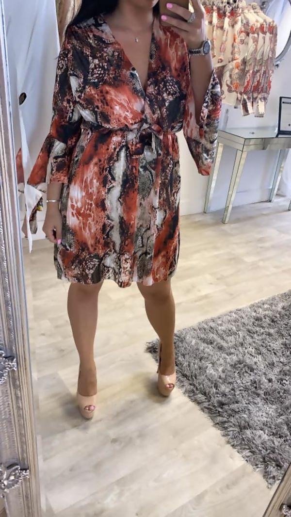 Miss Mills Dark Orange Snakeskin Wrap Mini Maxi Dress