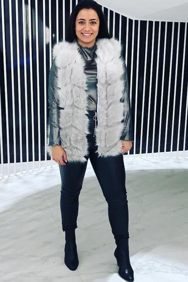 White Faux Fur Gilet