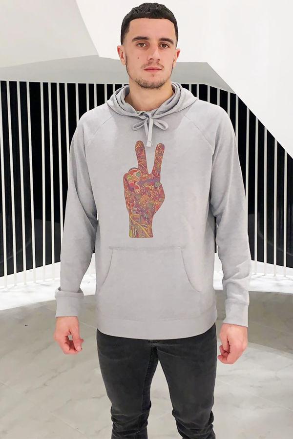 Peace Fingers Hoodie - Grey