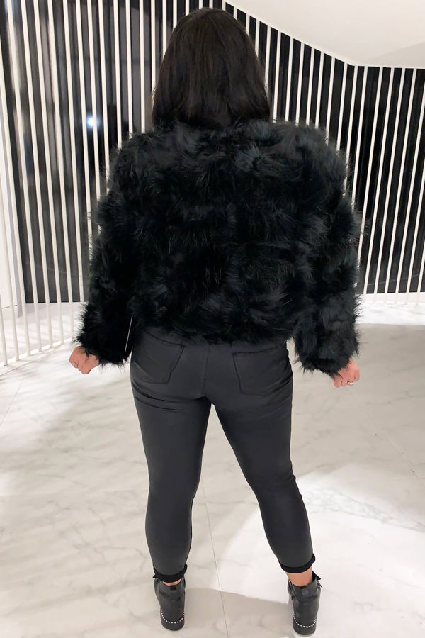 Miss Mills Black Faux Fur Coat