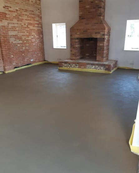 Sand and cement floor screed finished