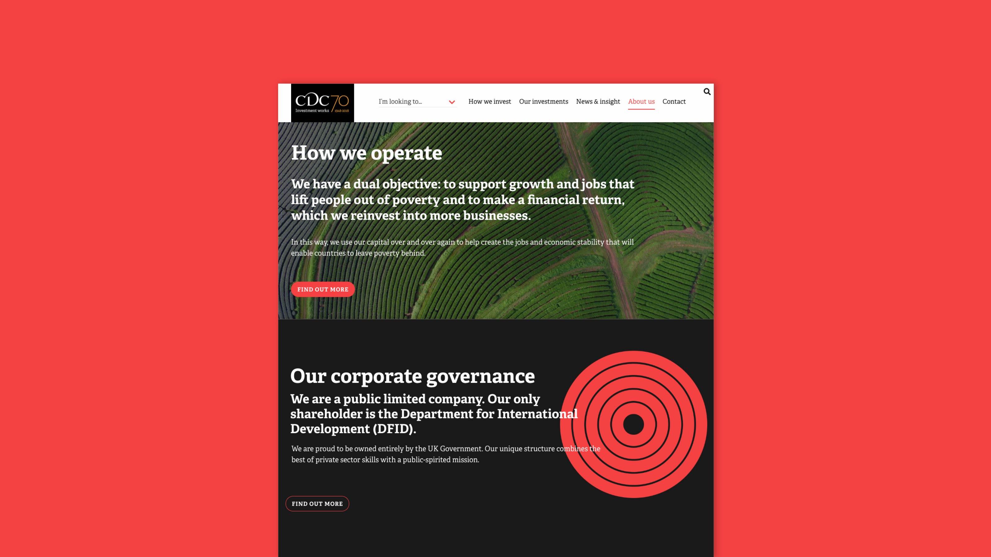 finance sector website design CDC