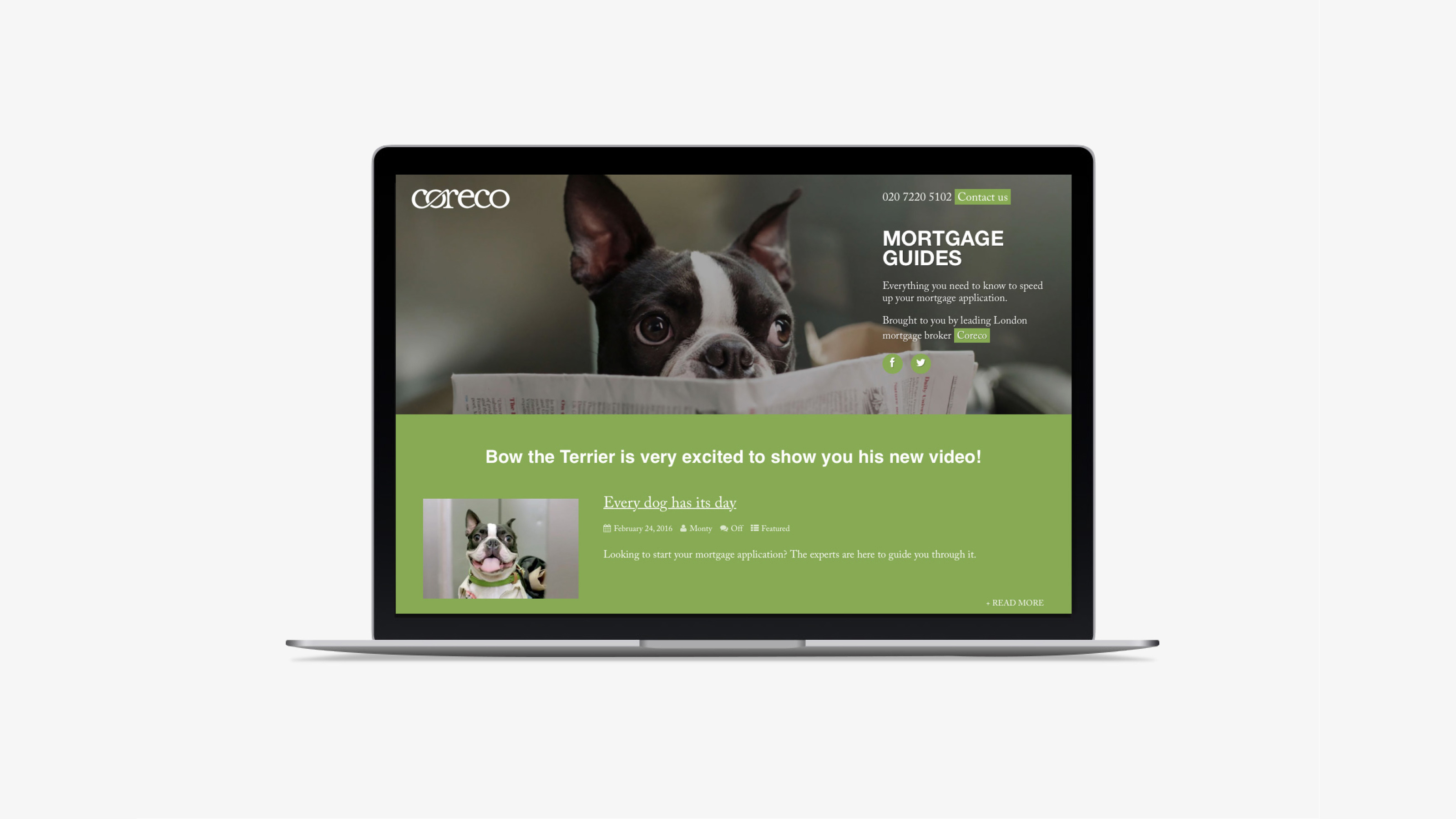 Marketing desktop screen Coreco
