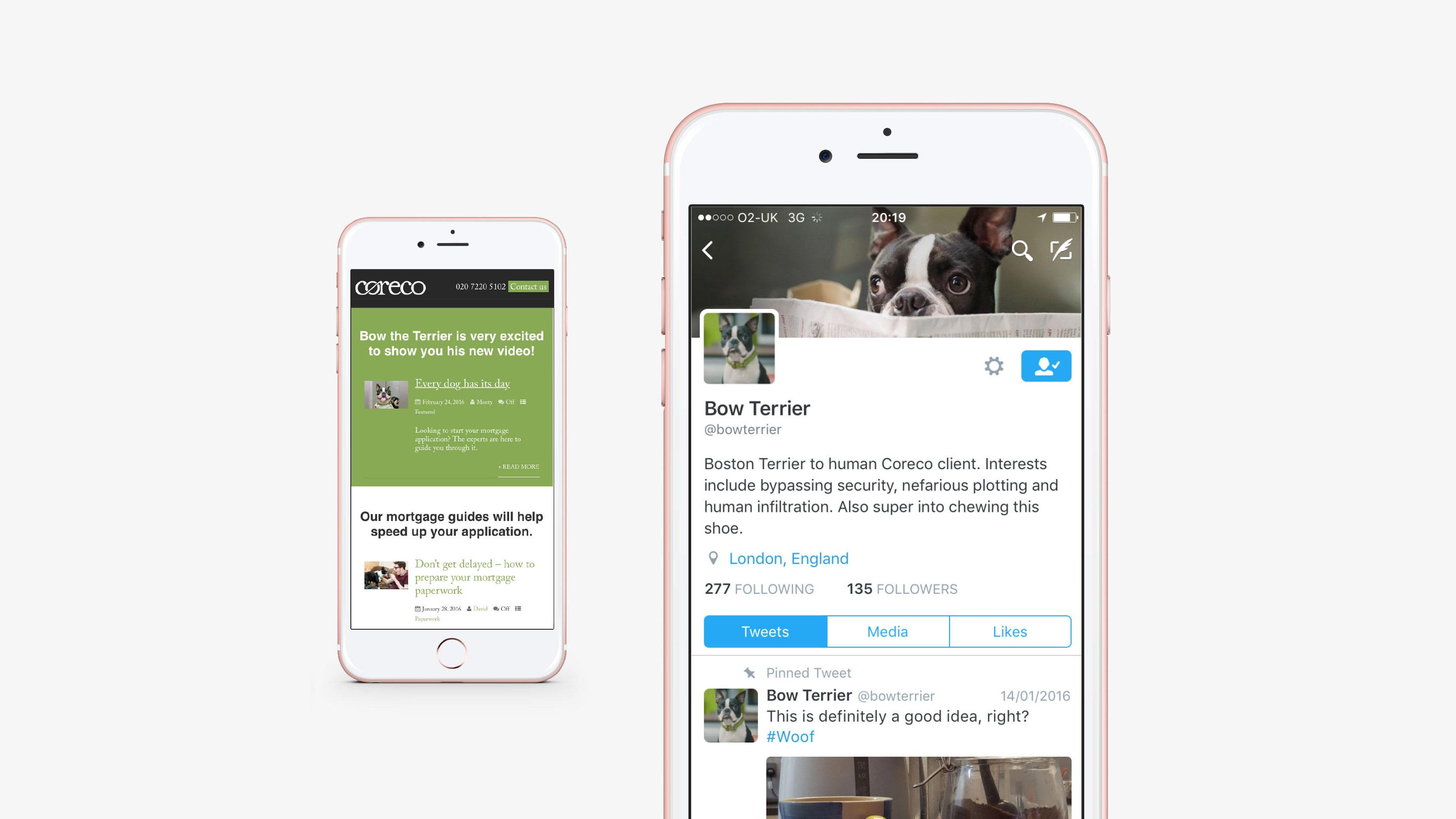 Marketing mobile screen Coreco