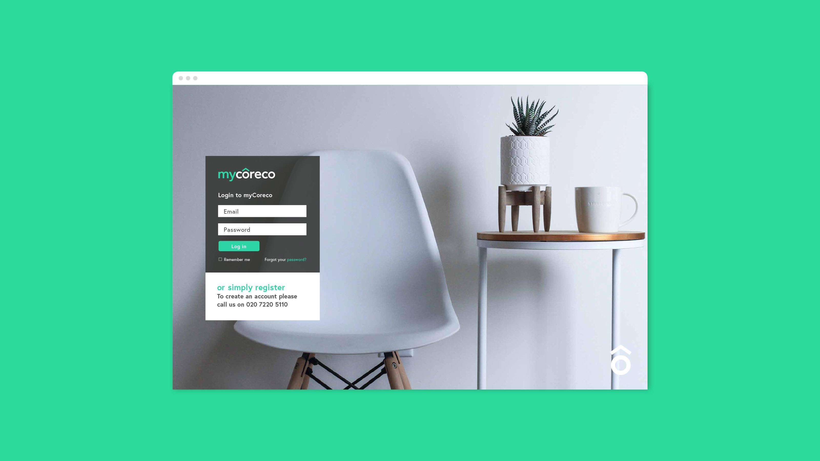 Digital login page design Coreco