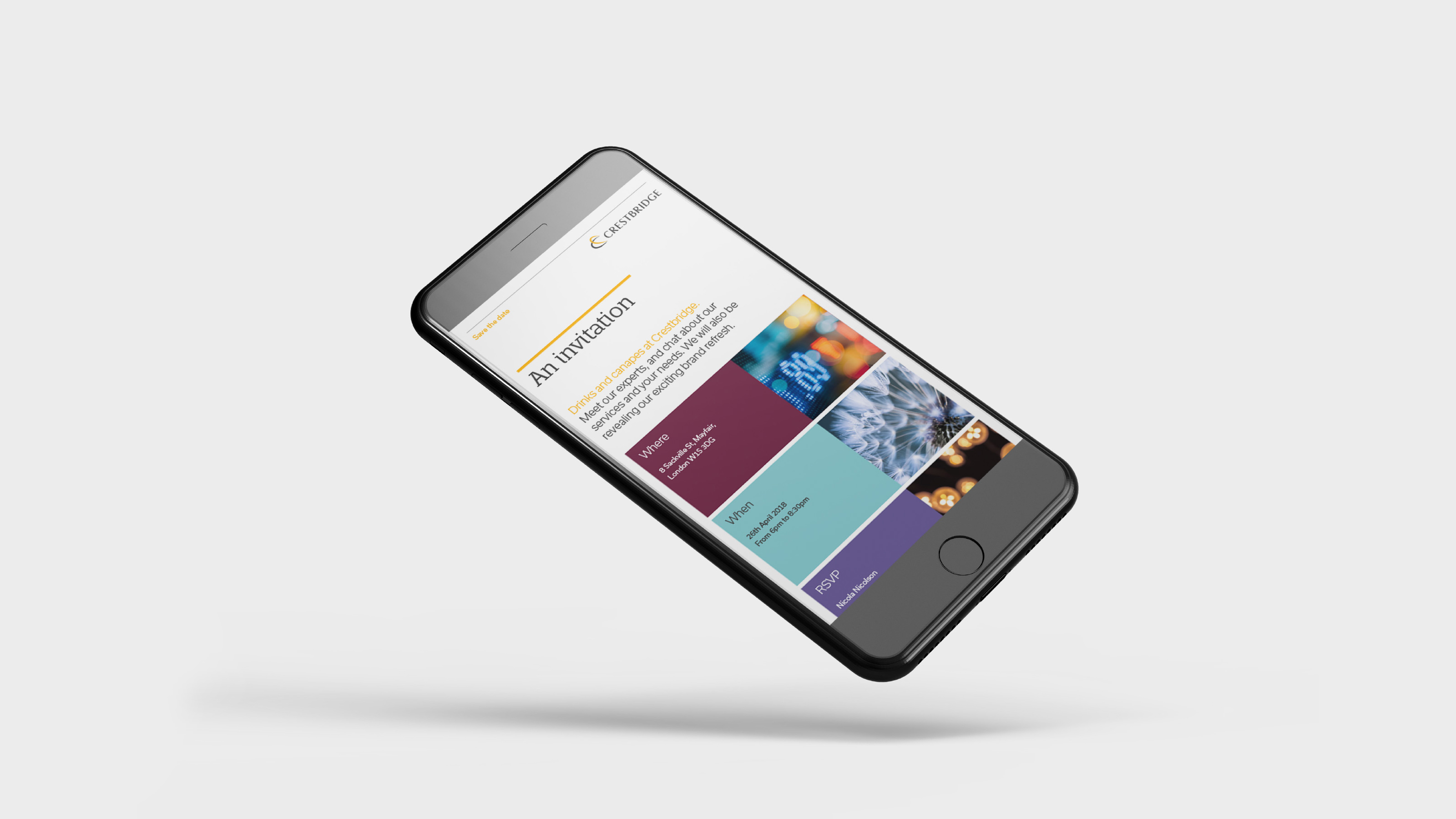 Marketing mobile screen Crestbridge