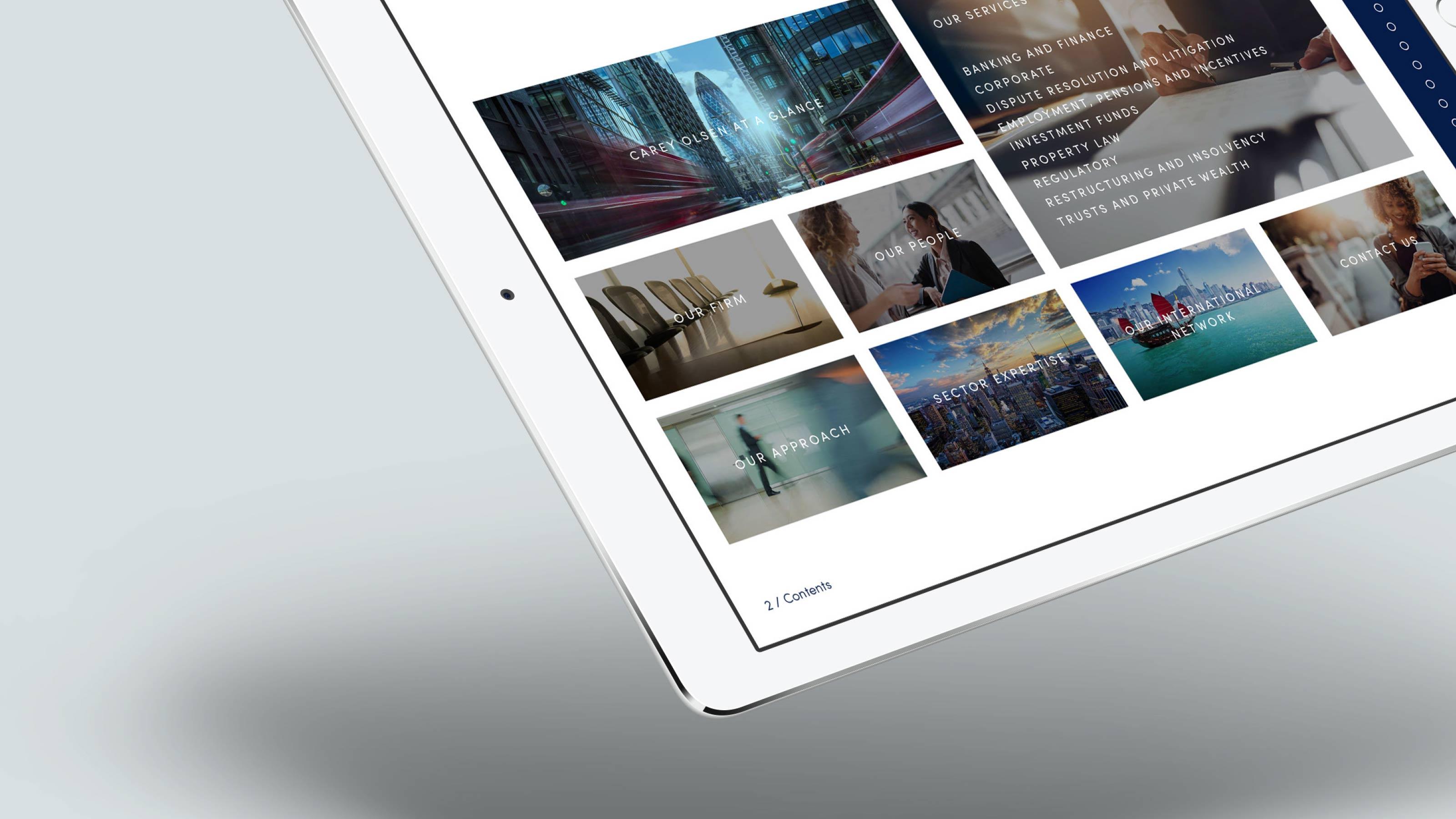 Marketing tablet layout Carey