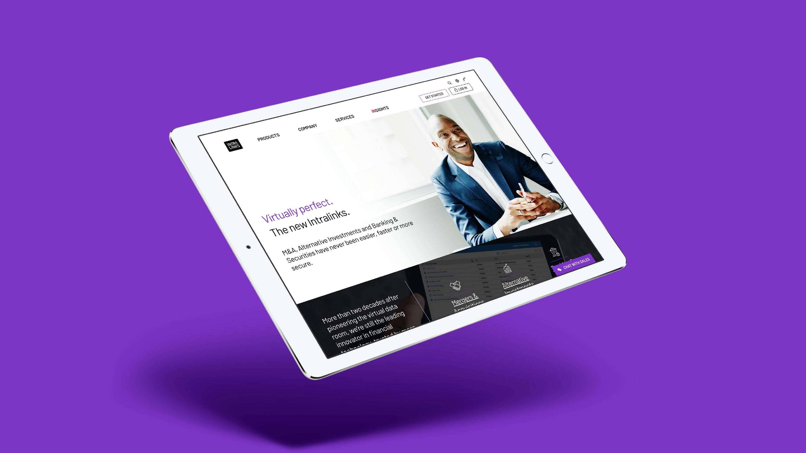 Intralinks Brand tablet design screen