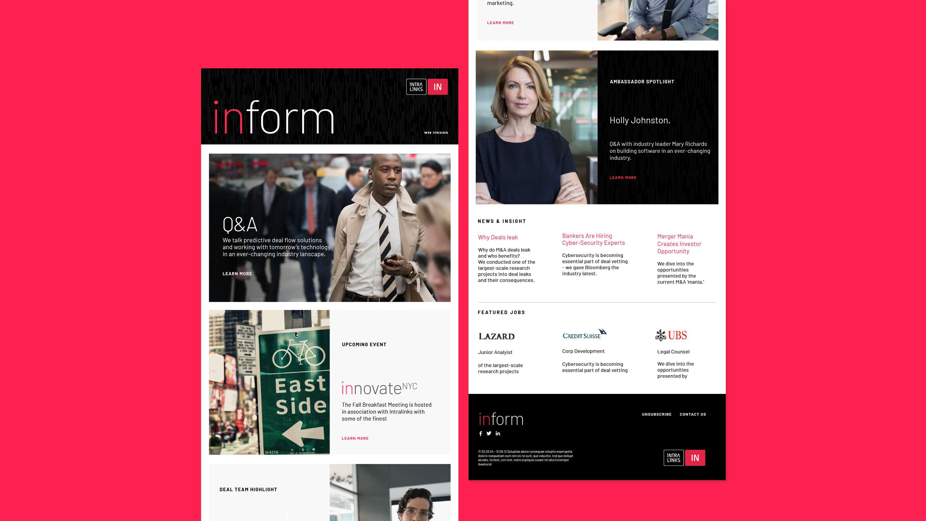 Marketing newsletter design Intralinks