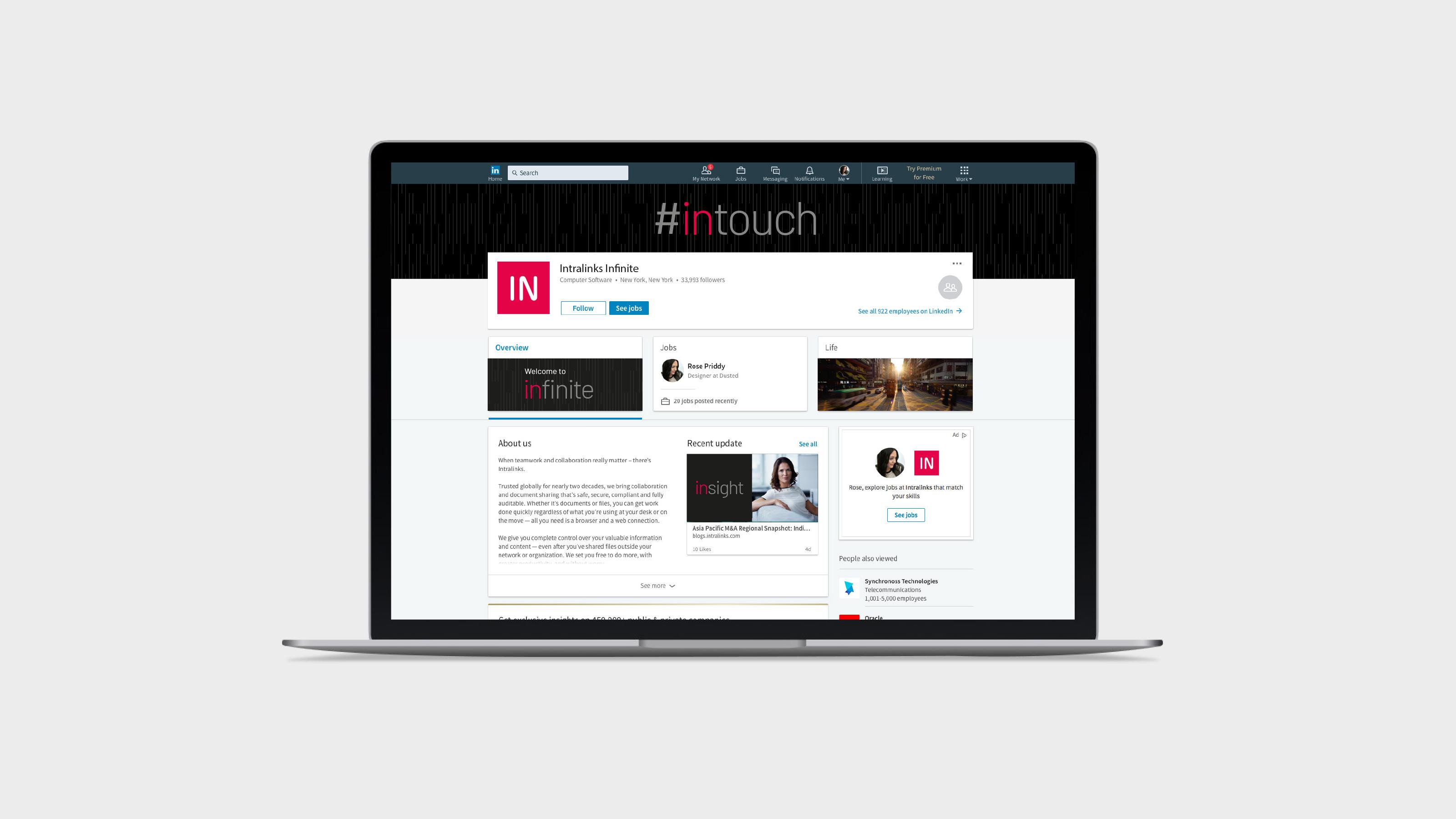 marketing laptop screen brand Intralinks
