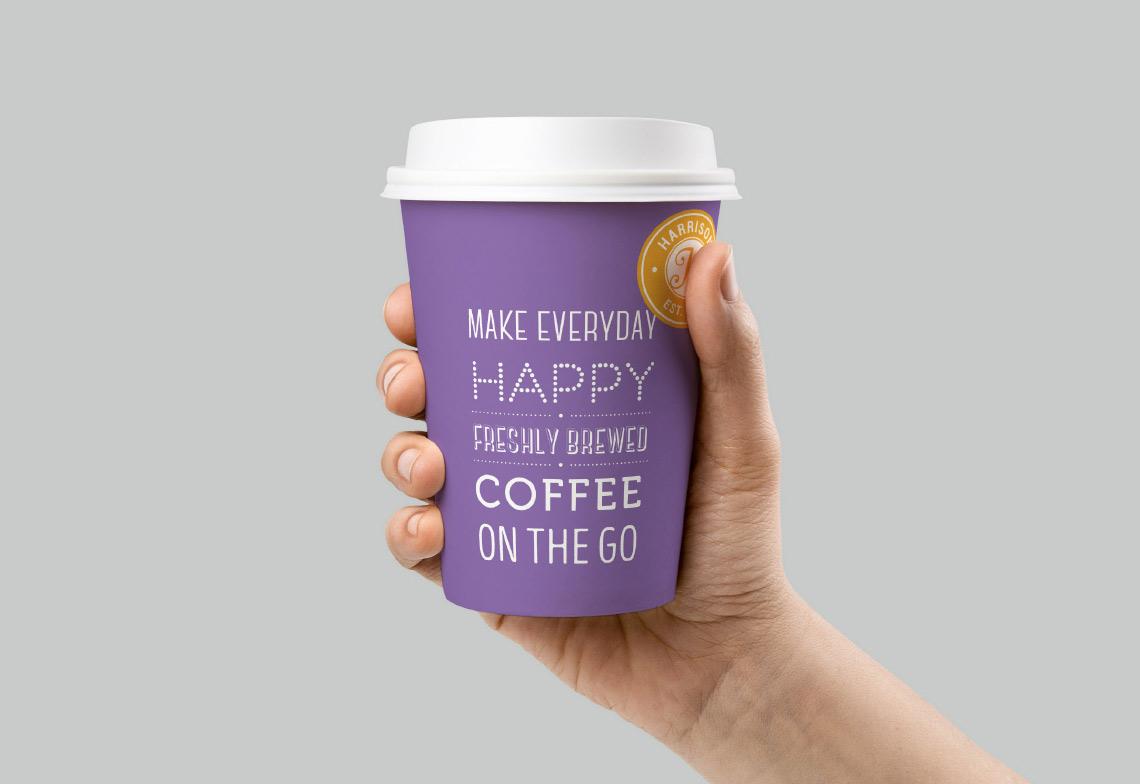 Harrison Brand coffee cup