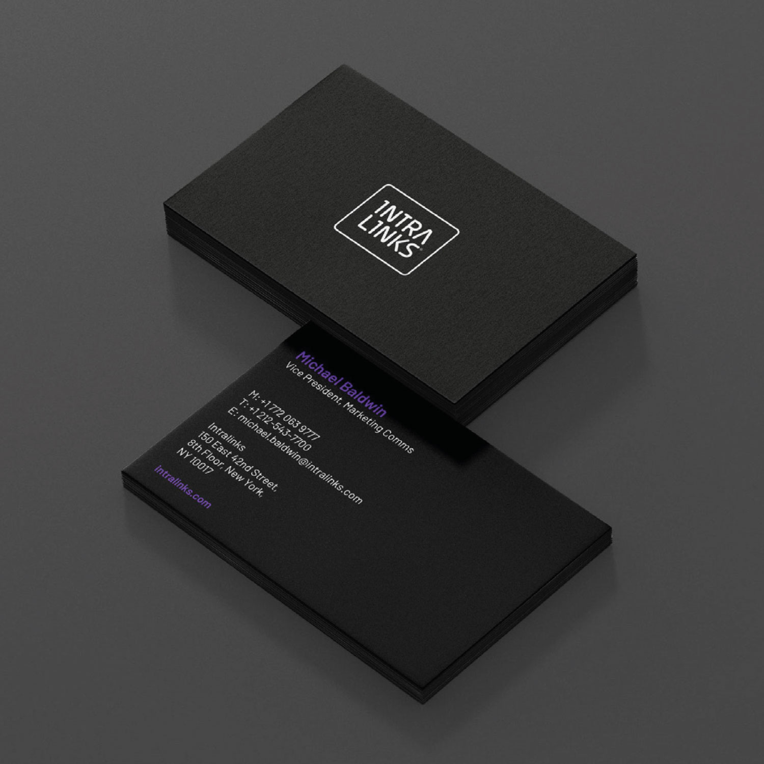 Intralinks branding business card