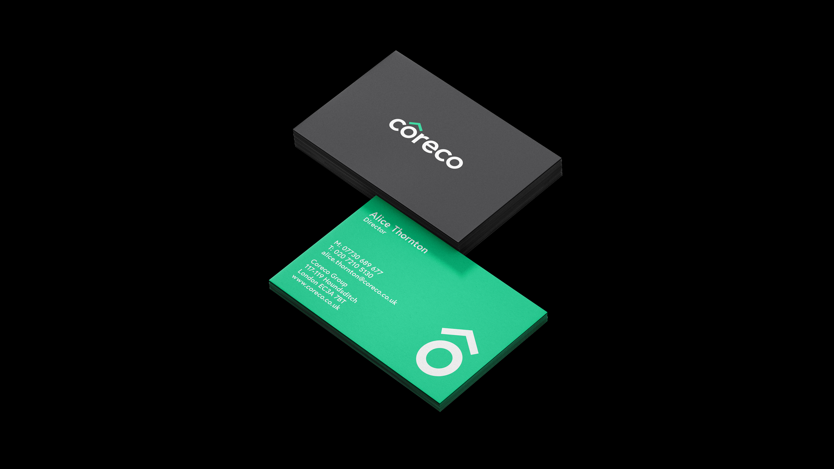 Brand business card design Coreco