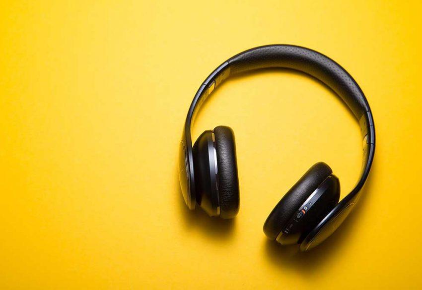 Headphones on yellow background